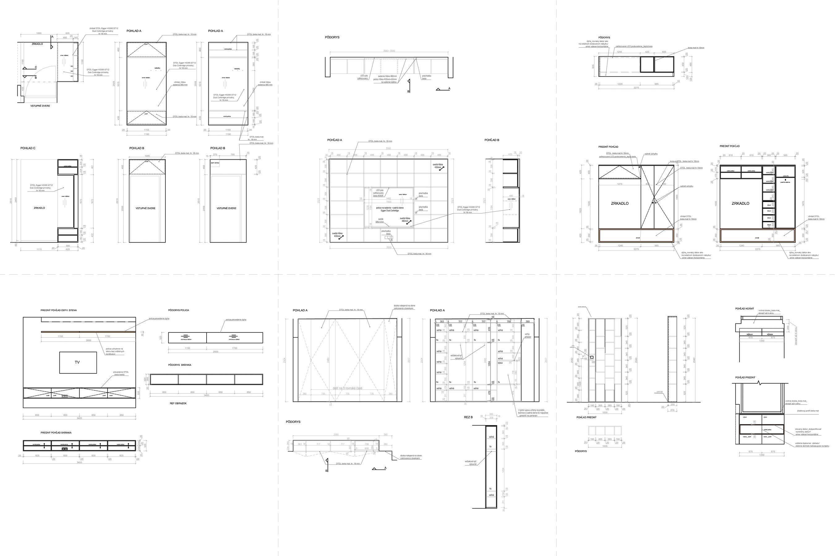 Projekt interiéru - premyslené detaily, výpis prvkov, nábytok na mieru