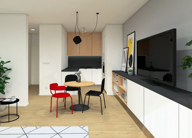 Interiér 2-izbového bytu, Bratislava, obývacia izba, VAUarchitects