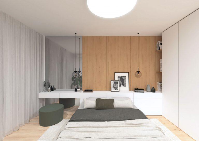 Návrh rekonštrukcie bytu, Bratislava, spálňa, VAUarchitects