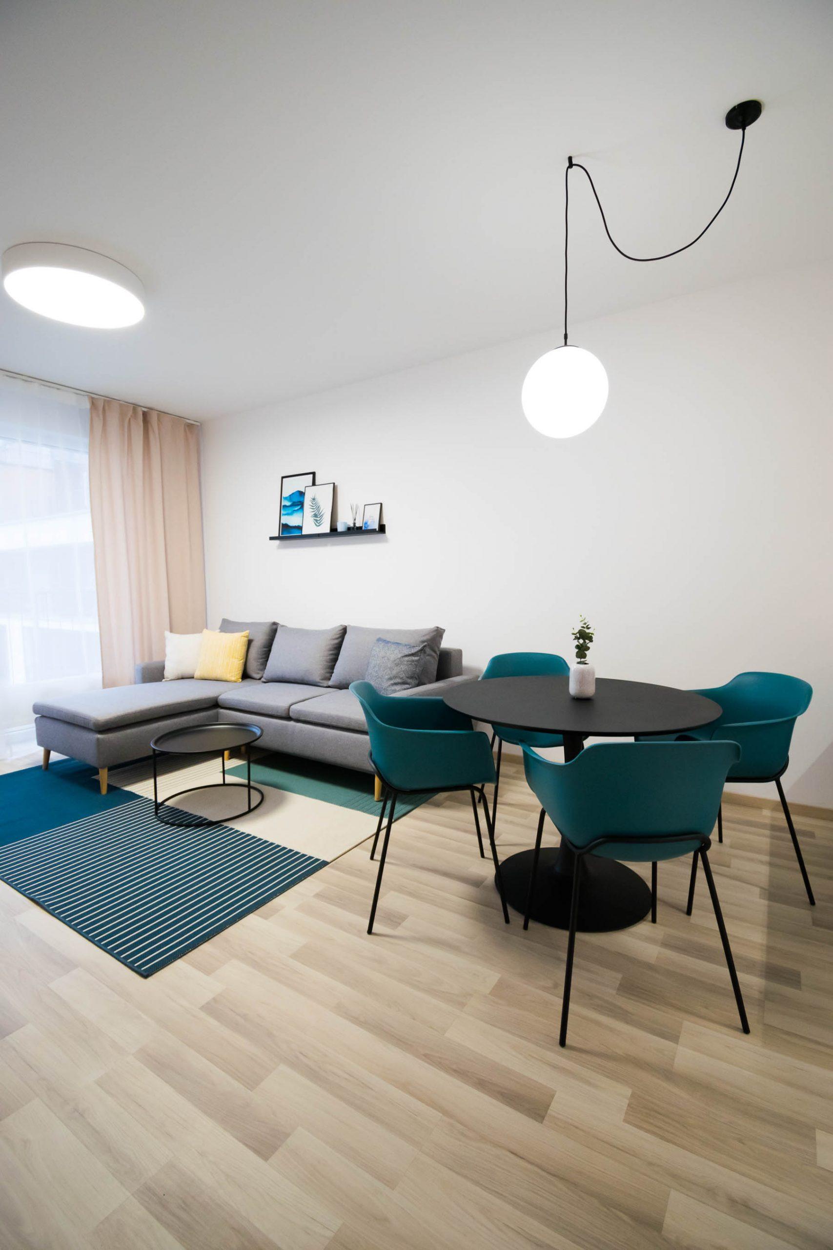 Interiér nájomného bytu, Bratislava, obývacia izba, VAUarchitects