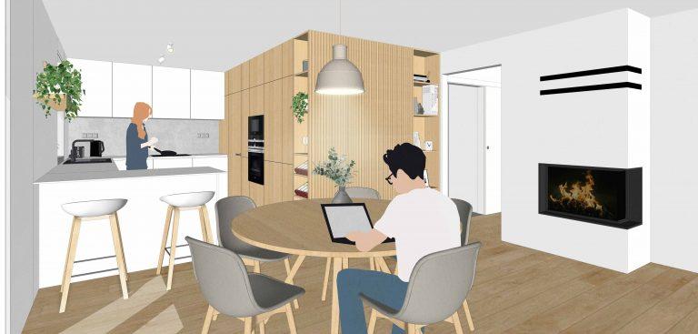 Návrh interiéru RD, Senec, denná časť, VAUarchitects
