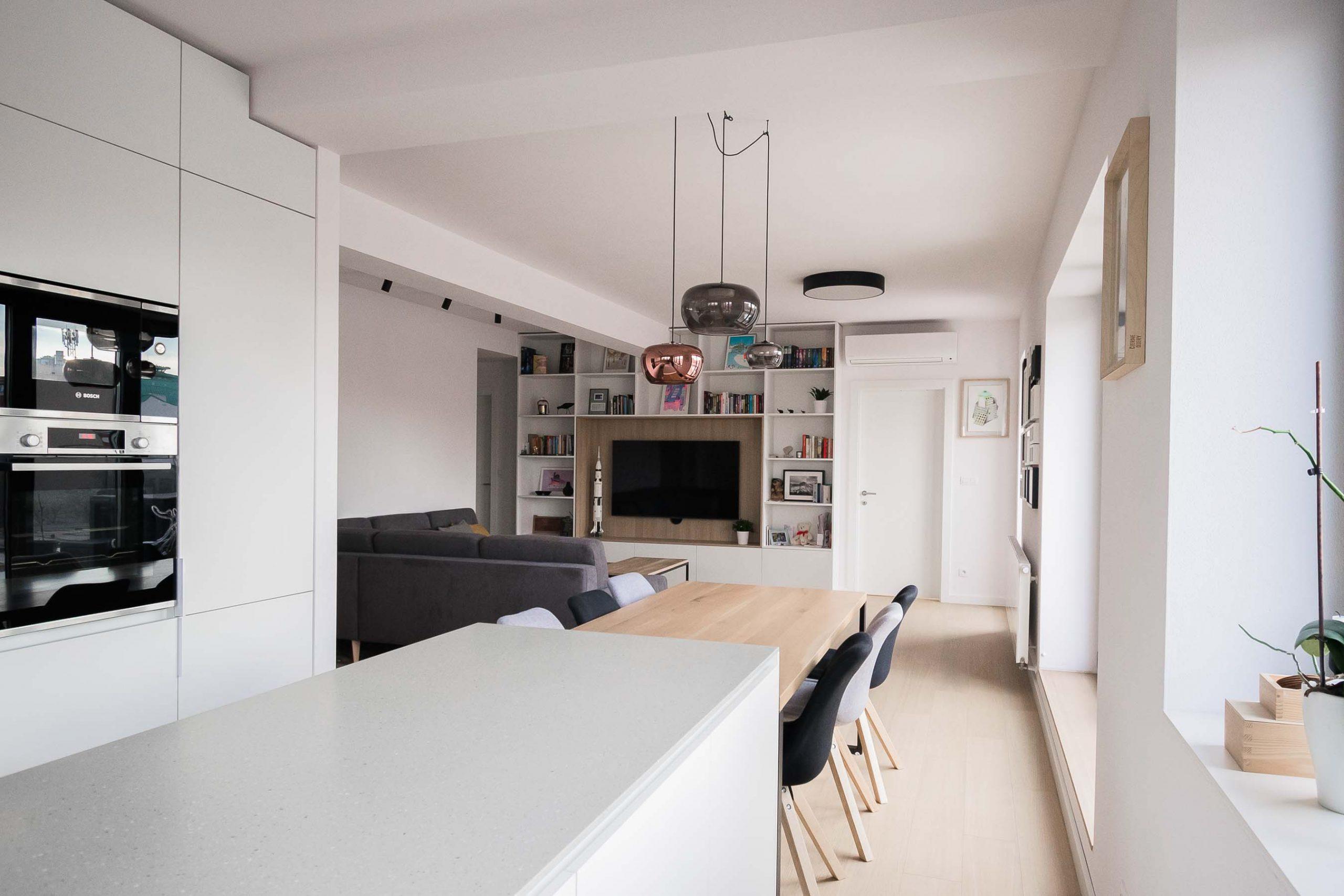 Interier terasoveho bytu, Bratislava, obyvacia izba, VAUarchitects