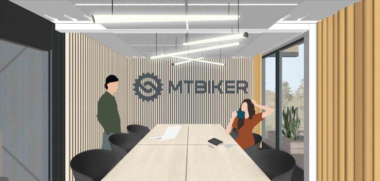 Projekt interiéru MTBIKER office, veľký meeting room, logo lamely, VAUarchitects