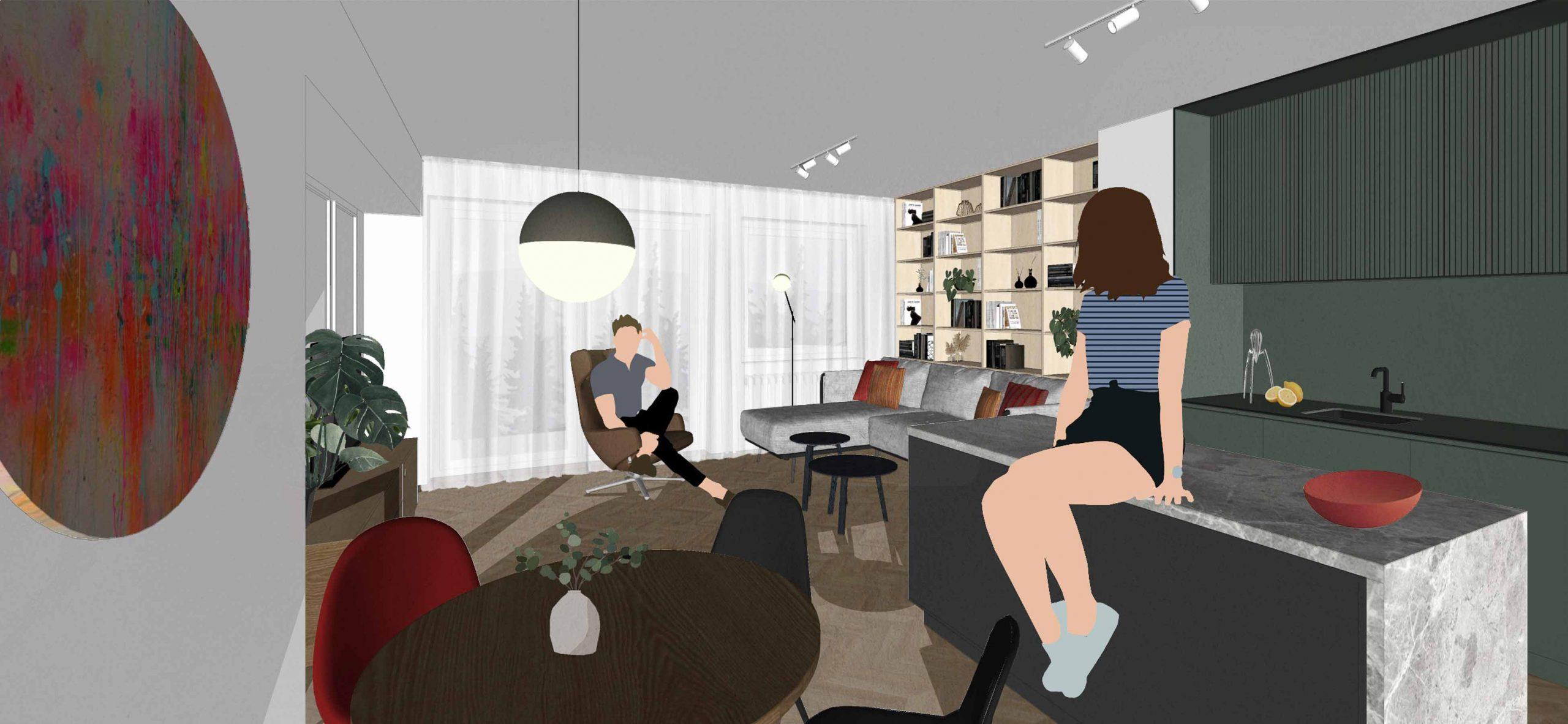 Navrh rekonstrukcie bytu, obyvacia izba, VAUarchitects
