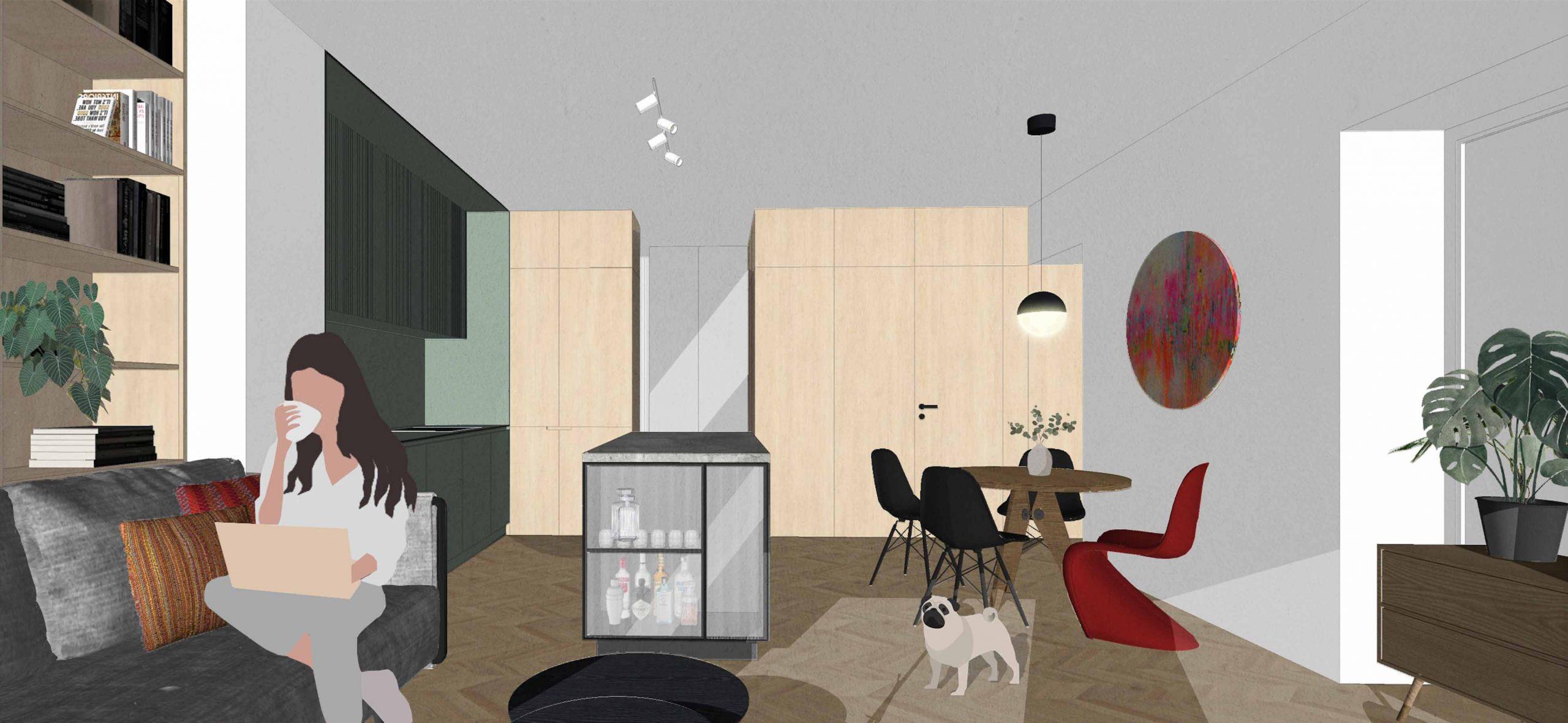 Navrh rekonstrukcie bytu, kuchyna, VAUarchitects