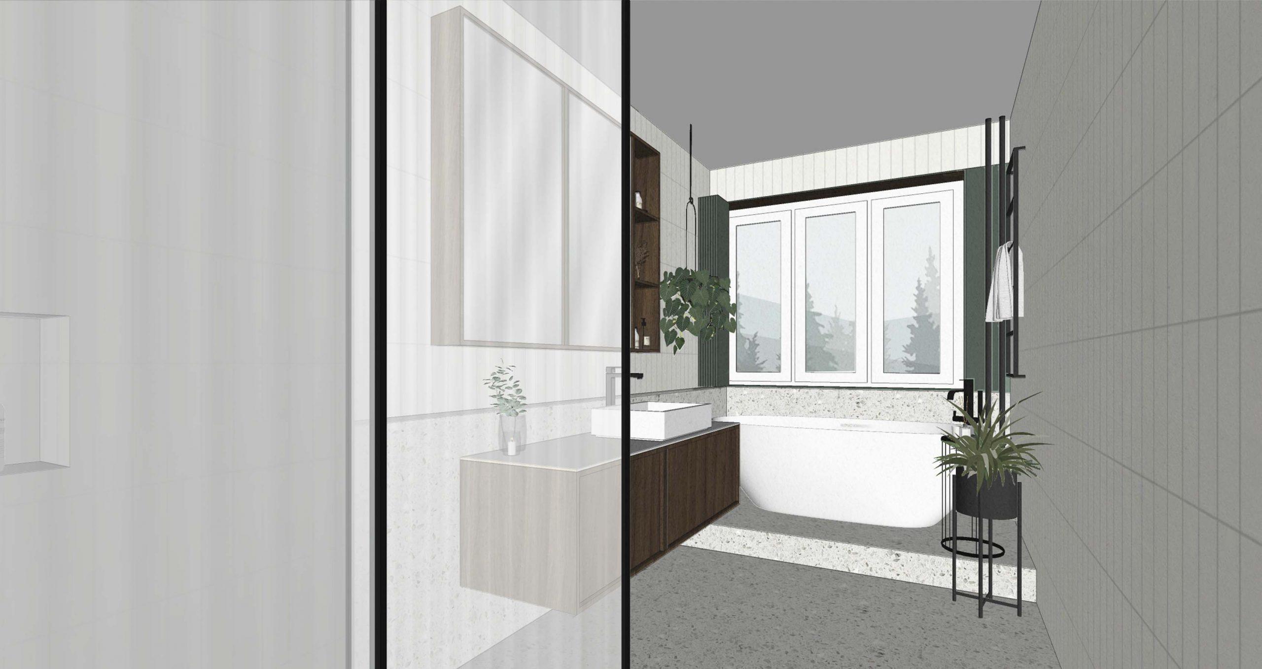 Navrh rekonstrukcie bytu, kupelna, VAUarchitects