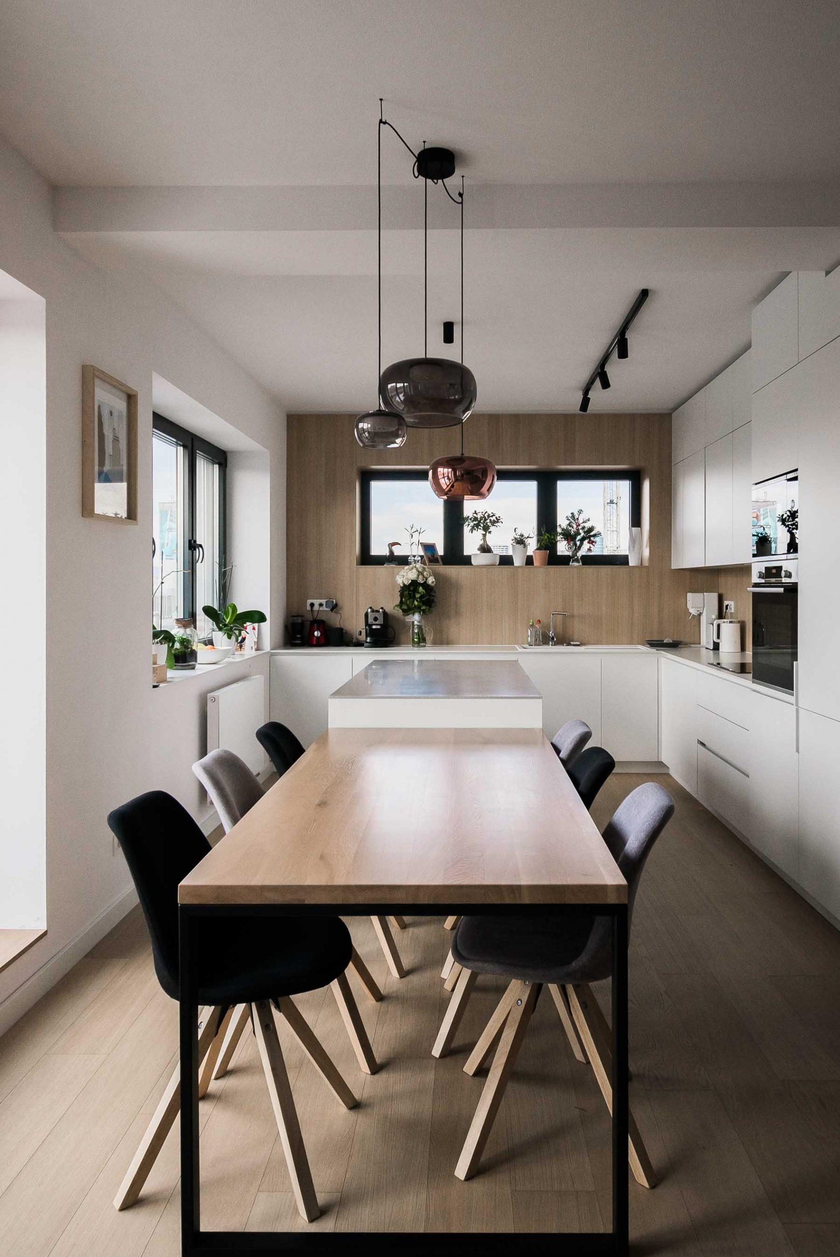 Interier terasoveho bytu, Bratislava, kuchyna, VAUarchitects