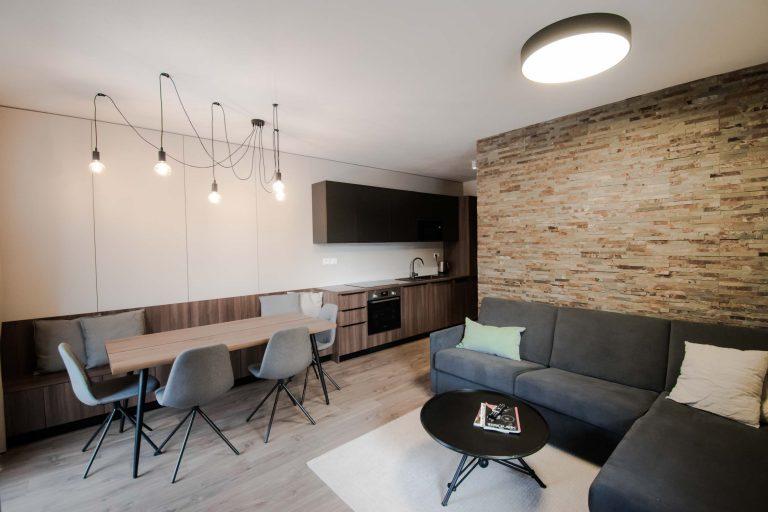 Apartman Tale, spolocny priestor, kuchyna, VAUarchitects